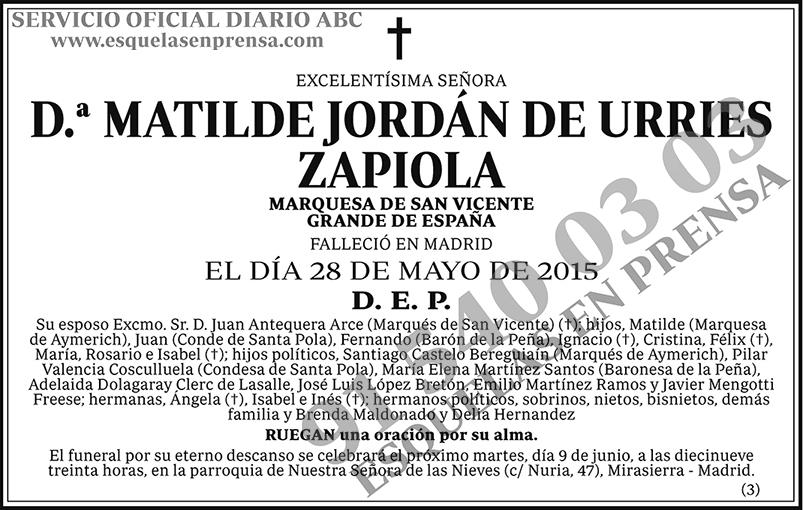 Matilde Jordán de Urries Zapiola